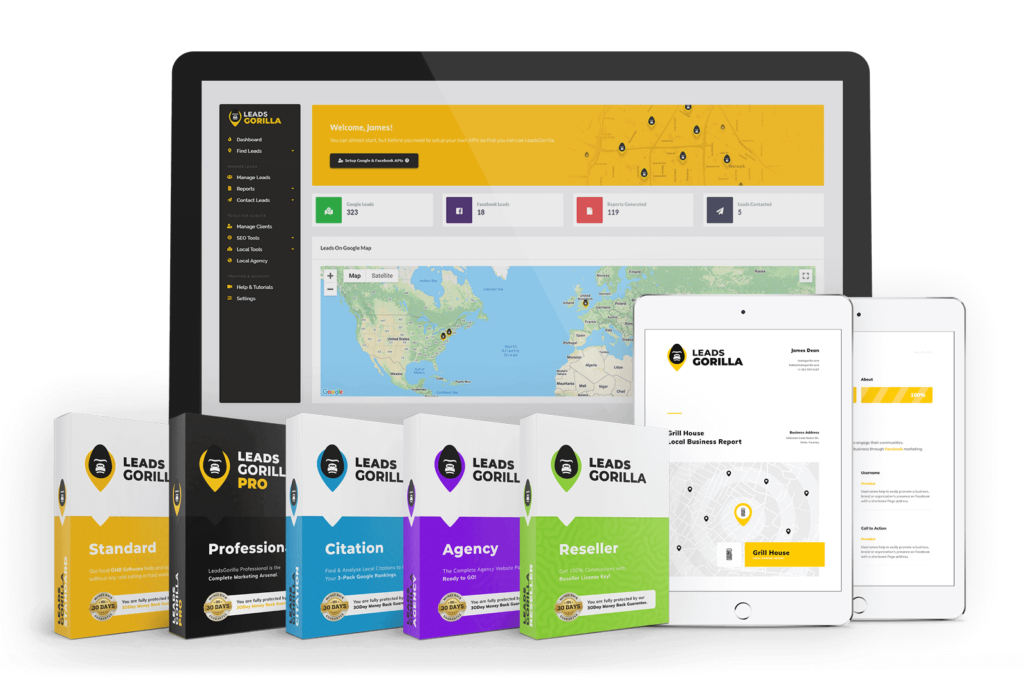 LeadsGorilla is a leads generation app for local marketing services